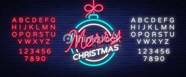 Merry christmas and a happy new year greeting card or invitation greeting card or invitation pattern in neon style neon luminous signboard bright luminous banner vector vintage illustration editing text neon sign stopboris Choice Image