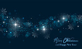 Merry Christmas and Happy New Year banner with stars, glitter and snowflakes. Vector illustration.