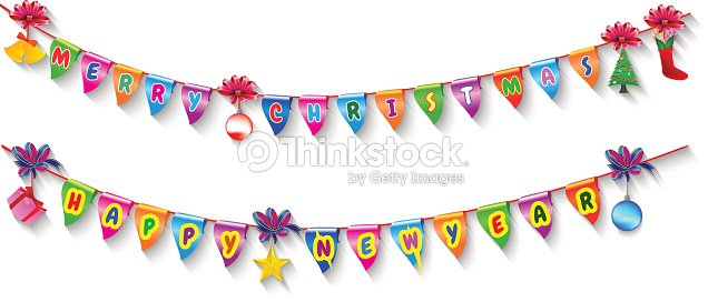 merry christmas and happy new year glossy inscriptions vector art