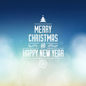 Merry Christmas and Happy New Year typographic design. Christmas and new year wishes on cloudly clean blue sky background illustration.