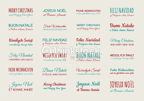 merry christmas and happy new year in different languages english spanish german french polish italian collection of greetings vector