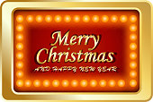 Merry Christmas And Happy New Year Neon Box - full color