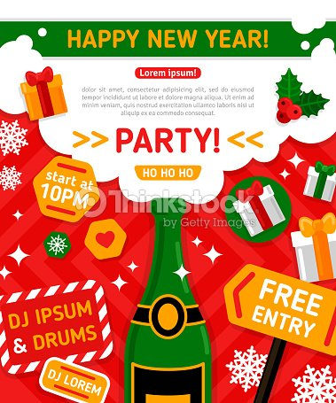 merry christmas and happy new year party invitation card vector art