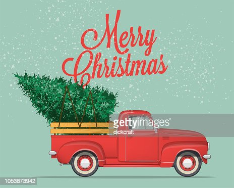Merry Christmas and Happy New Year Postcard or Poster or Flyer template with  pickup truck with christmas tree. Vintage styled vector illustration. : Vector Art