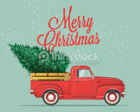 merry christmas and happy new year postcard or poster or flyer template with pickup truck with