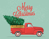 Merry Christmas and Happy New Year Postcard or Poster or Flyer template with retro pickup truck with christmas tree. Vintage styled vector illustration.
