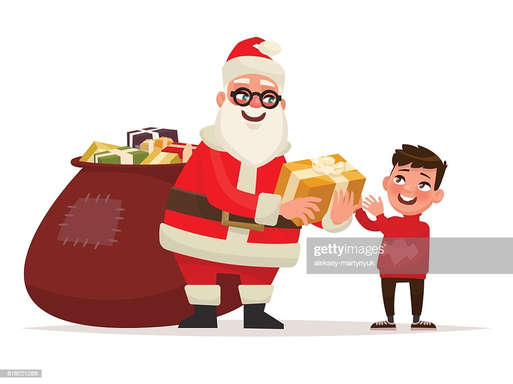 Merry Christmas and Happy New Year. Santa Claus : Vector Art