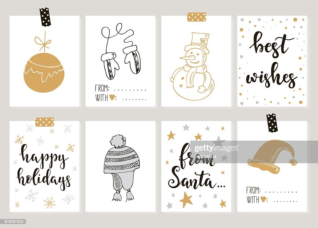 Merry Christmas and Happy New Year vintage gift tags cards : Arte vetorial