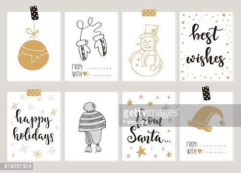 Merry Christmas and Happy New Year vintage gift tags cards : Vector Art