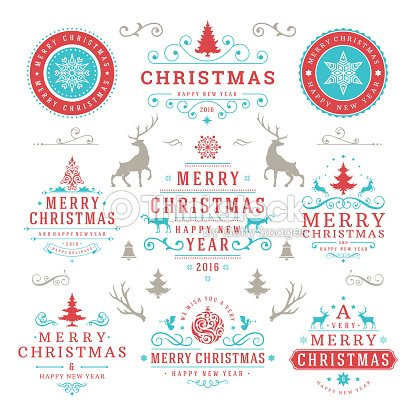 Merry Christmas And Happy New Year Wishes Typographic Labels Vector ...