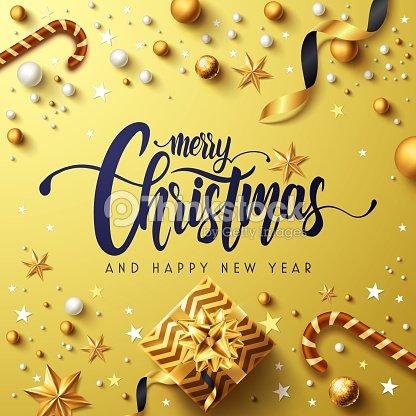 Frohe Weihnachten Band.Frohe Weihnachten Und Happy Neue Jahre Goldene Poster Mit Goldenen