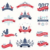 Merry Christmas and New Year typographic banners with Winter Holidays design elements. Decorative red ribbons. Vector illustration set.