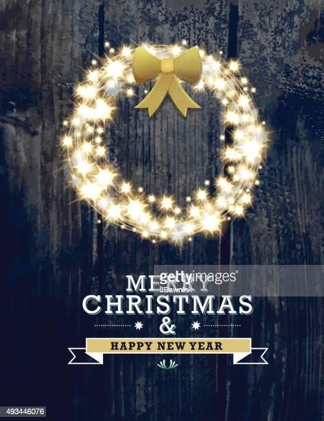 Frohe Weihnachten und Neujahr glitzernden Kranz design-Vorlage