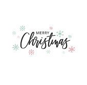 Merry Christmas Calligraphy Vector Text With Hand Drawn Snowflakes Over White Background - Illustration
