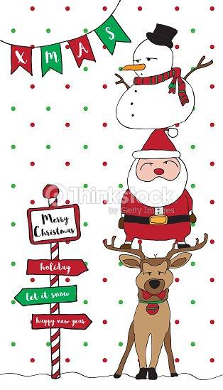 merry christmas card santa reindeer snowman vertical. Black Bedroom Furniture Sets. Home Design Ideas
