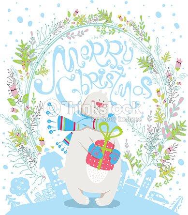 Joyeux Noel Dessin Anime Carte De Voeux Avec Ours Polaire Clipart