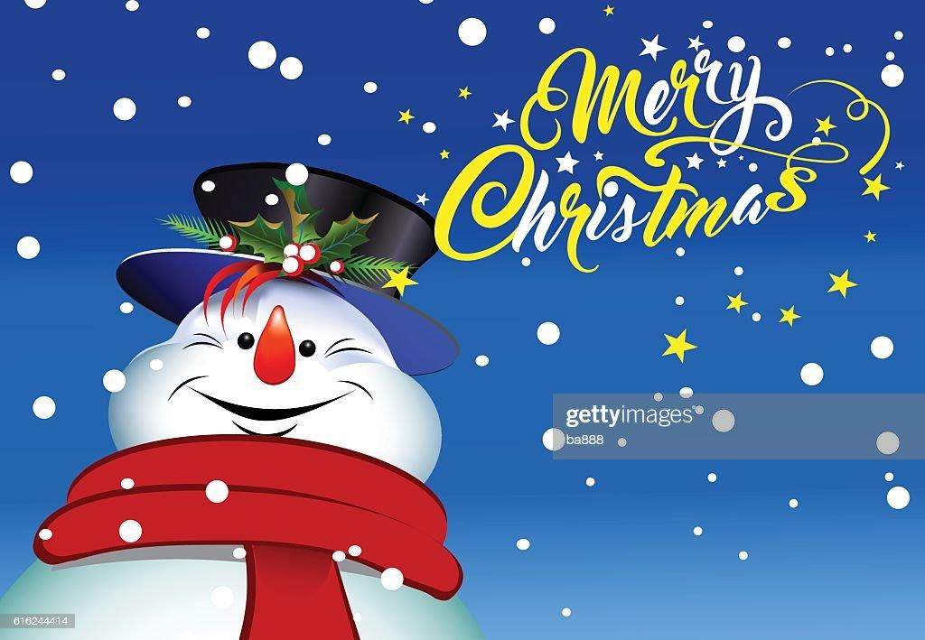 merry christmas, christmas card, happy snowman : Vector Art