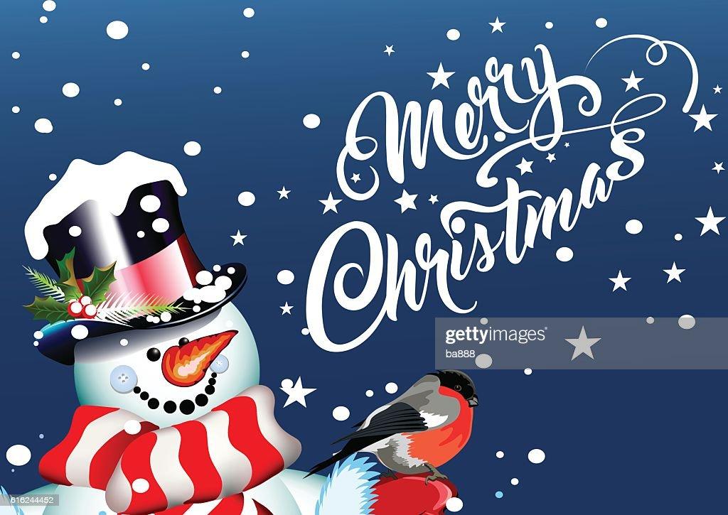 merry christmas, christmas card, snowman : Vektorgrafik