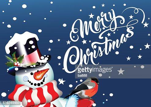 merry christmas, christmas card, snowman : Arte vetorial