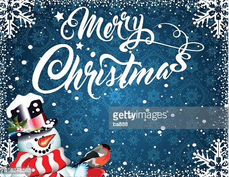 merry christmas, christmas card, snowman : Arte vectorial