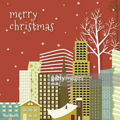 Merry christmas city background : Vector Art
