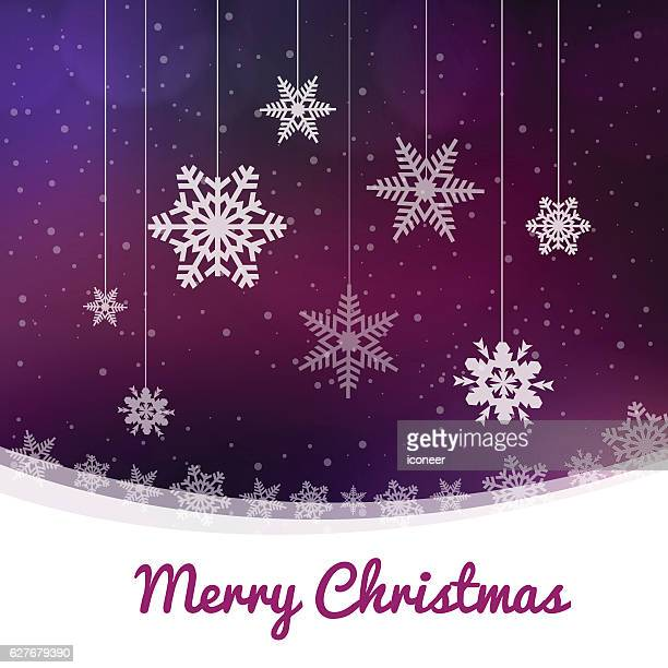 Merry Christmas dark purple snowing winter background