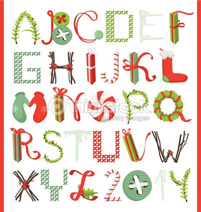 Joyeux no l d corative alphabet clipart vectoriel thinkstock - Alphabet noel ...
