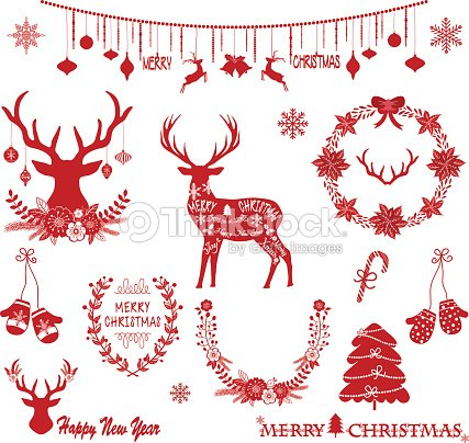 Merry Christmas DeerRustic ChristmasChristmas WreathChristmas Ornaments Set Vector