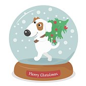 Merry Christmas dog with tree in snow globe on white background. Snowflakes falling inside.