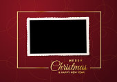 Merry Christmas, empty background and blank photo, made with golden frame and text