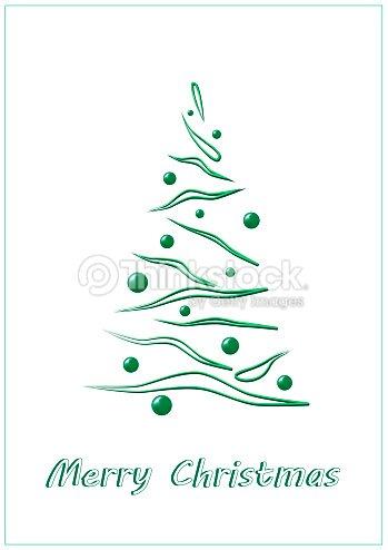 Merry Christmas Green Elegant Tree On A White Background Vertical Vector Art