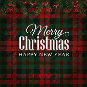 Merry Christmas greeting card, invitation with Christmas tree branches and red berries border. White text over tartan checkered plaid, vector illustration background.