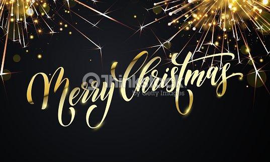 Frohe Weihnachten Glitzer.Frohe Weihnachten Grußkartenvektor Goldenes Feuerwerk Glitzer