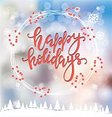Merry Christmas greeting card, poster and banner with lettering