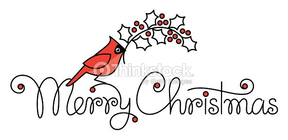 merry christmas hand lettering with red robin bird and branch vector art - Is Red Robin Open On Christmas