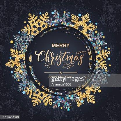 Frohe Weihnachten Handschrift Skript Schriftzug. Weihnachtsgruß mit Schneeflocken auf schwarzem Hintergrund. Vektor-illustration : Vektorgrafik