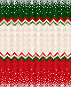 Ugly sweater Merry Christmas and Happy New Year greeting card frame border . Vector illustration knitted background seamless pattern with folk style scandinavian ornaments. White, red, green colors.