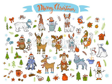 6f5afdb630a96 merry christmas happy new year winter cartoon cute funny animals in santa  hats scarfs with presents. View similar images · More from this artist