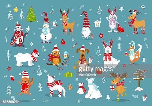 Frohe Weihnachten Frohes Neues Jahr Winter Cartoon Nette Lustige