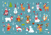 merry christmas  happy new year winter cartoon cute funny animals in santa hats scarfs with presents collection. polar bears, reindeer, deer, fox, cat, dog, wolf, rabbit, penguin, owl, birds, gnome ,
