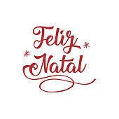 Merry Christmas in Portuguese (Feliz Natal) calligraphic lettering greeting card. Holiday