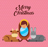 merry christmas jesus christ holy blessed vector illustration