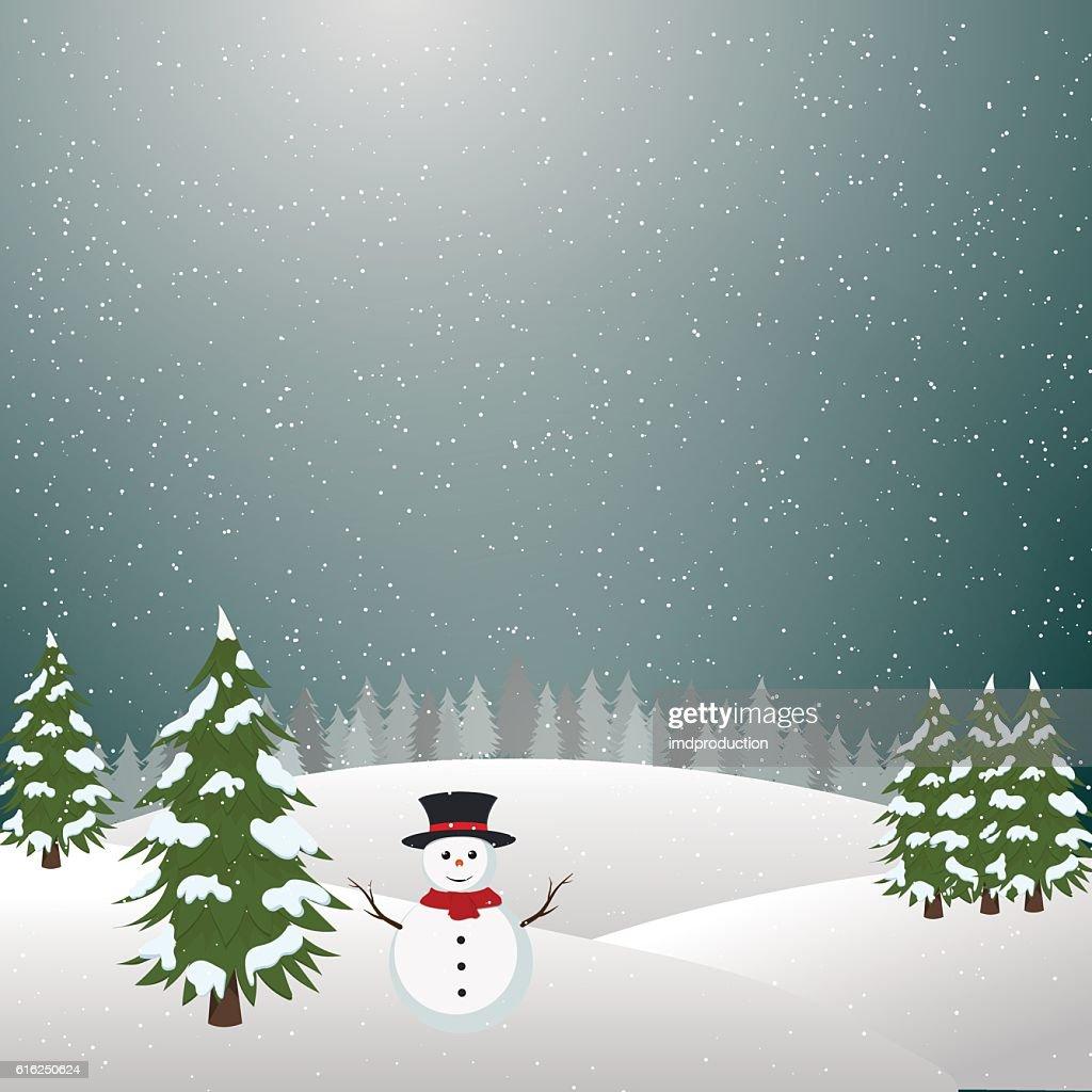 Merry christmas landscape, Snowman In Winter : Arte vectorial