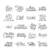 Merry Christmas brush lettering typography. Handwriting text design with winter handdrawn lettering. Happy New Year lettering set. Vector logo, emblems, text design. Usable for banners, greeting cards
