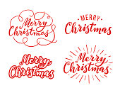 Merry Christmas  lettering. Vector design element for congratulation cards, banners and flyers. Print on white background