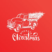 Merry Christmas lettering. Vector hand drawn toy pickup illustration. Happy Holidays greeting card, poster template