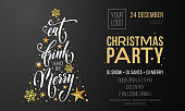 Christmas party invitation poster or welcome banner template of golden Christmas tree. Vector New Year gold glitter star and snowflakes decoration and calligraphy text on premium black background