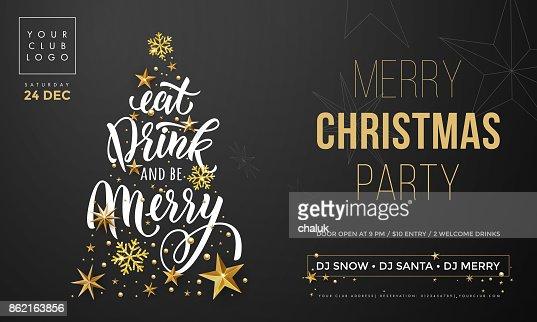 Frohe Weihnachten Party Poster Banner Vektor goldene Dekoration Schneeflocke Neujahr Hintergrund : Vektorgrafik