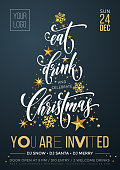 Christmas party invitation poster or calligraphy welcome banner template. Vector golden Christmas tree and New Year gold glitter stars and snowflakes decoration on premium black background