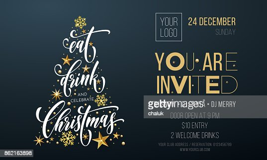 Merry Christmas party poster greeting vector golden decoration snowflake New Year background : Vector Art